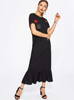 Embroidered Sequin Patch Ruffle Hem Dress