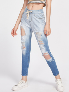 Distressed Ombre Jeans