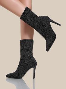 Glitter Print Stretch Heels BLACK