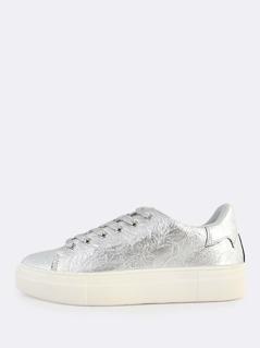 Crinkle Metallic Sneakers SILVER