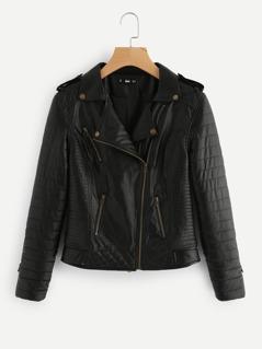Asymmetric Zip Quilted Biker Jacket