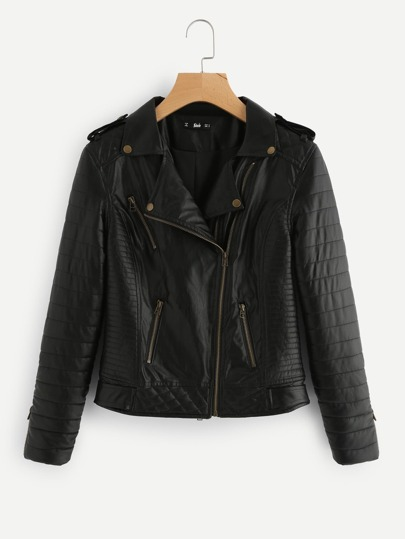 Asymmetric Zip Quilted Biker Jacket
