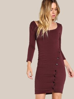 Snap Button Quarter Sleeve Bodycon Dress BURGUNDY