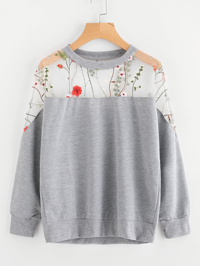 Embroidery Mesh Paneled Marled Sweatshirt