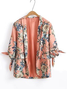 Floral Print Knot Cuff Open Front Blazer