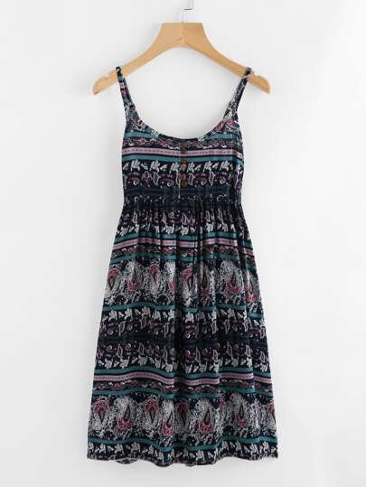 Allover Printed Random Button Front Cami Dress