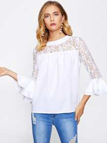 Floral Lace Panel Tiered Flute Sleeve Top