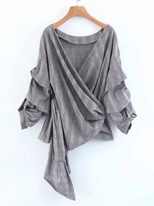 Ruched Sleeve Self Tie Surplice Blouse