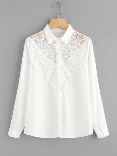 Hollow Out Crochet Panel Shirt