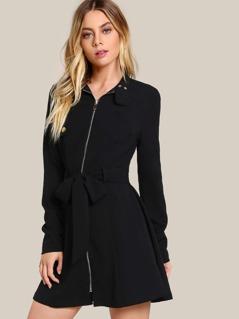 Zip Up Belted Dress BLACK