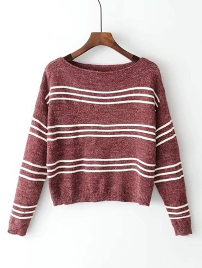 Boat Neck Striped Knitwear