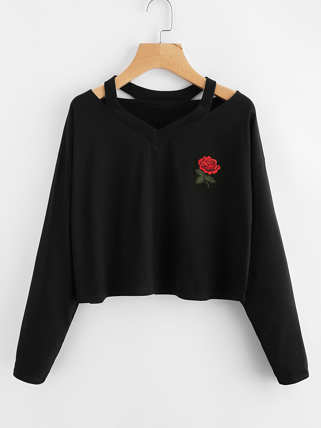 Cut Out Neck Rose Patch Tee cut out neck rose patch crop tee