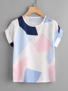 Random Geo Print Cuffed T-shirt