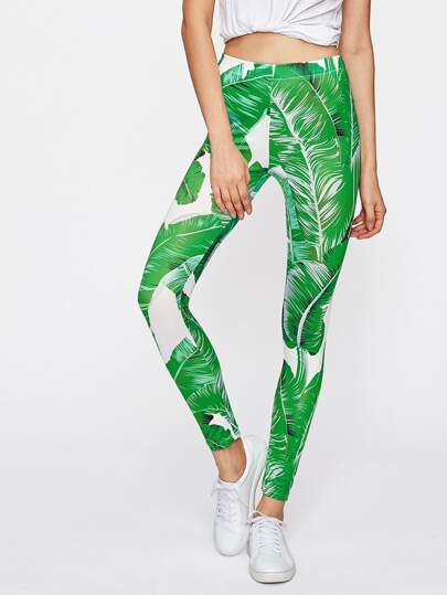 Banana Leaf Print Leggings