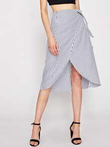 Self Tie Pinstripe Overlap Skirt