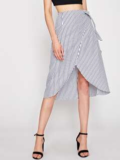Self Tie Pinstripe Overlap Skirt