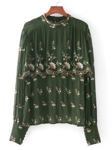 Calico Embroidery Layered Chiffon Blouse