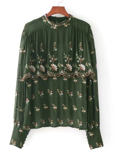 Calico Embroidery Layered Chiffon Blouse