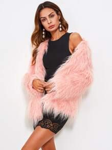Faux Fur Open Front Fluffy Coat