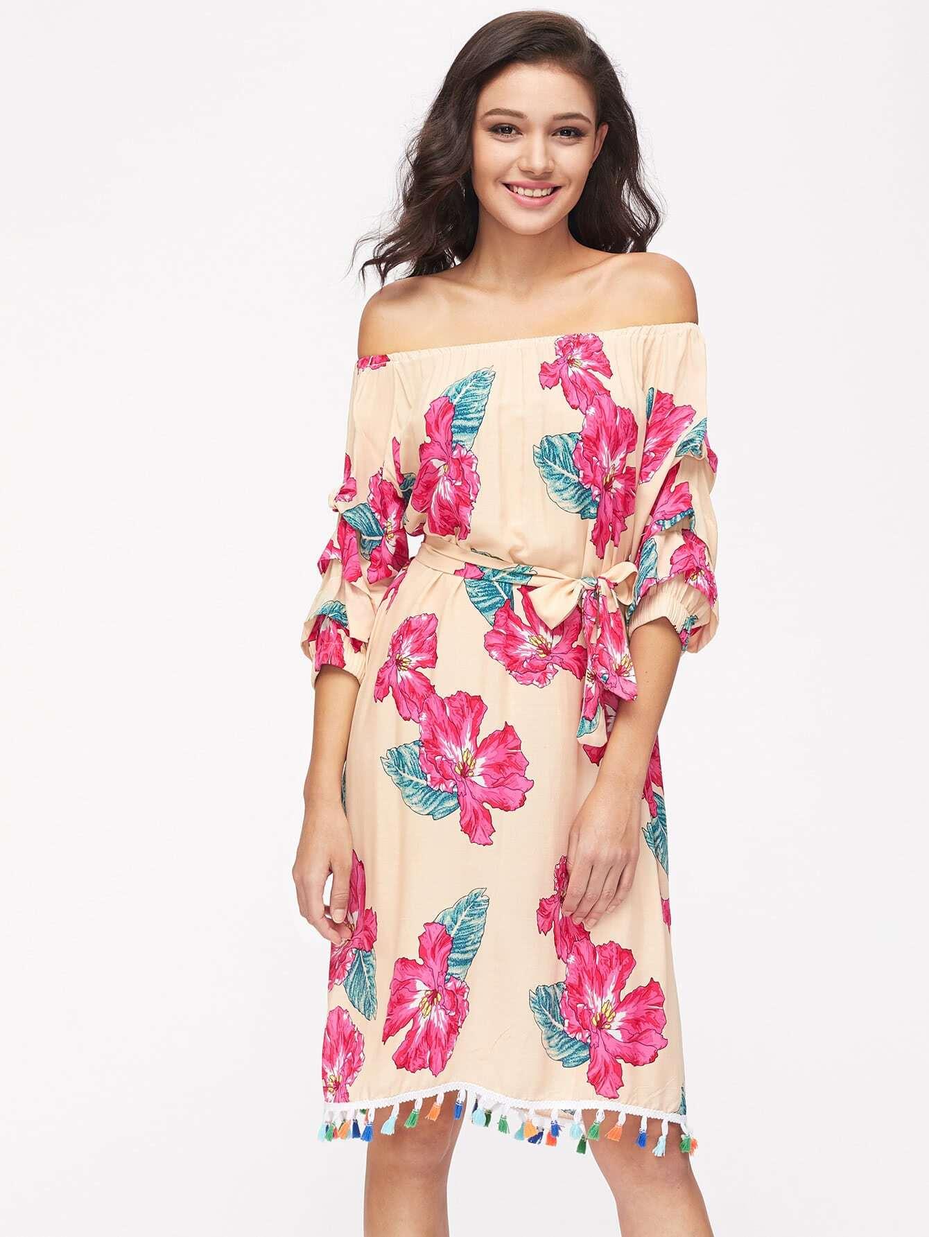 Bardot Ruched Sleeve Tassel Hem Random Florals Dress dress170830001