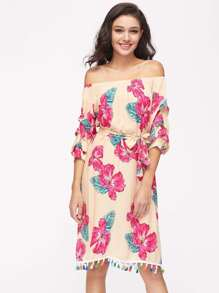 Bardot Ruched Sleeve Tassel Hem Random Florals Dress