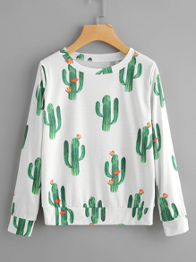 All Over Cactaceae Print Sweatshirt