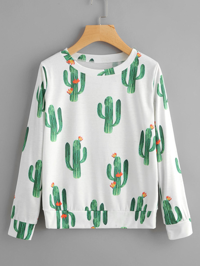 Sweat-shirt imprimé des cactus