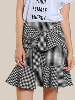 Front Knot Bodycon Skirt BLACK WHITE