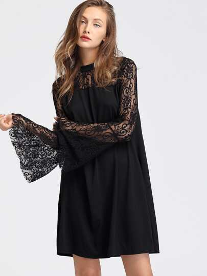 Floral Lace Insert Flute Sleeve Dress
