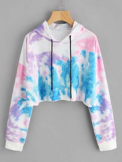 Hooded Water Color Drawstring Sweatshirt