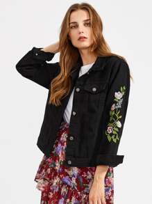 Floral Embroidered Button Front Denim Jacket With Pockets