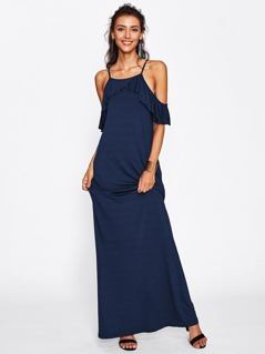 Overlap Flounce Cold Shoulder Dress