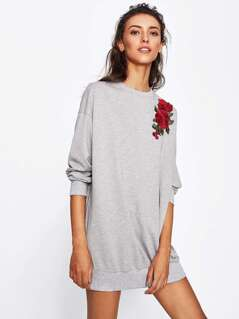 3D Rose Applique Heathered Longline Sweatshirt