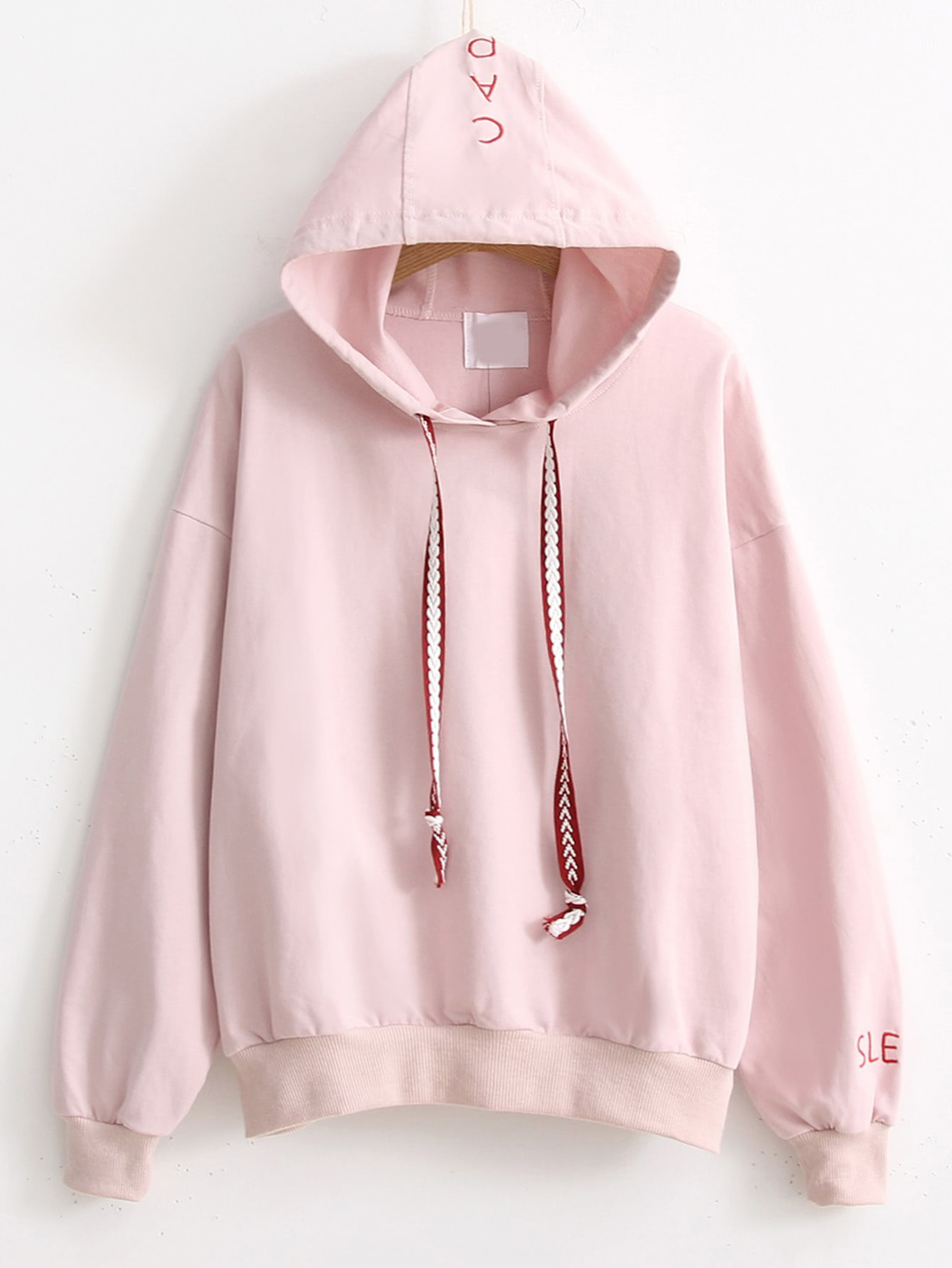 Letter Embroidery Drawstring Hooded Sweatshirt RSWS170810202