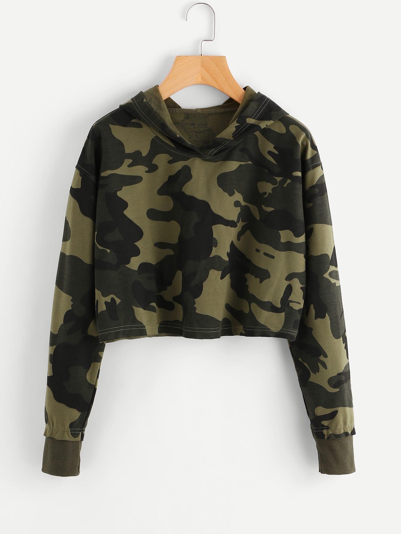 Camo Print Crop Hoodie letters print crop hoodie