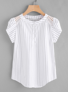 Eyelet Embroidered Panel Petal Sleeve Pinstriped Blouse