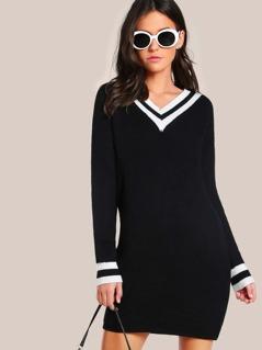 Ribbed Knit Dress BLACK