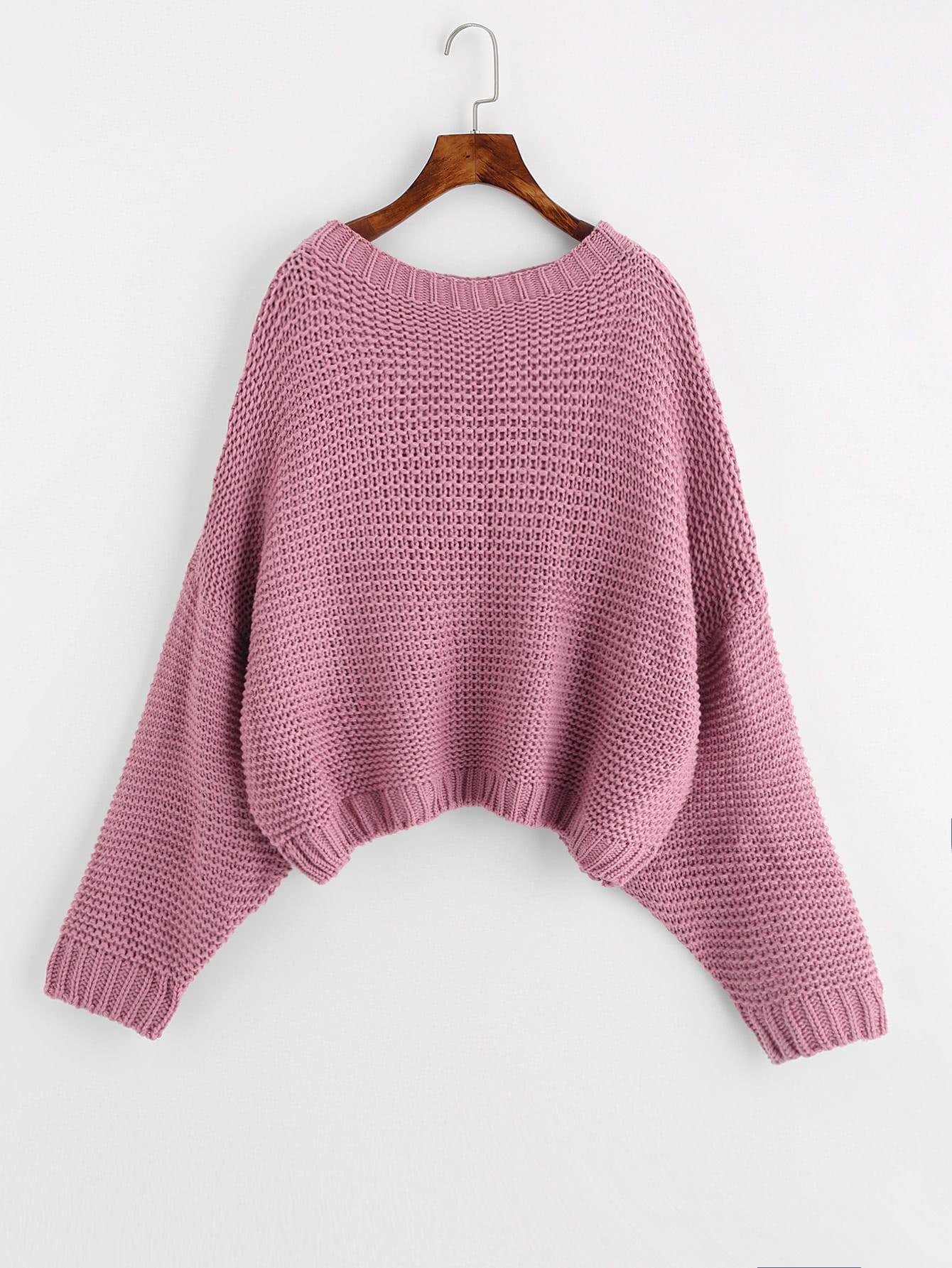 Solid Dolman Sleeve Jumper sweater170824465