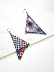 Sequin Embellished Triangle Design Earrings