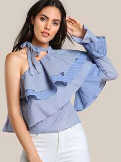 One Shoulder Layered Ruffle Mixed Stripe Top