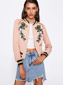 Botanical Embroidery Striped Trim Bomber Jacket
