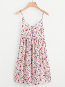 Ditsy Print Random Single Breasted Cami Dress