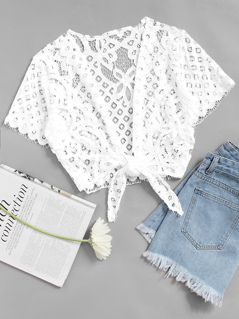 Tie Front Cover Up Lace Top