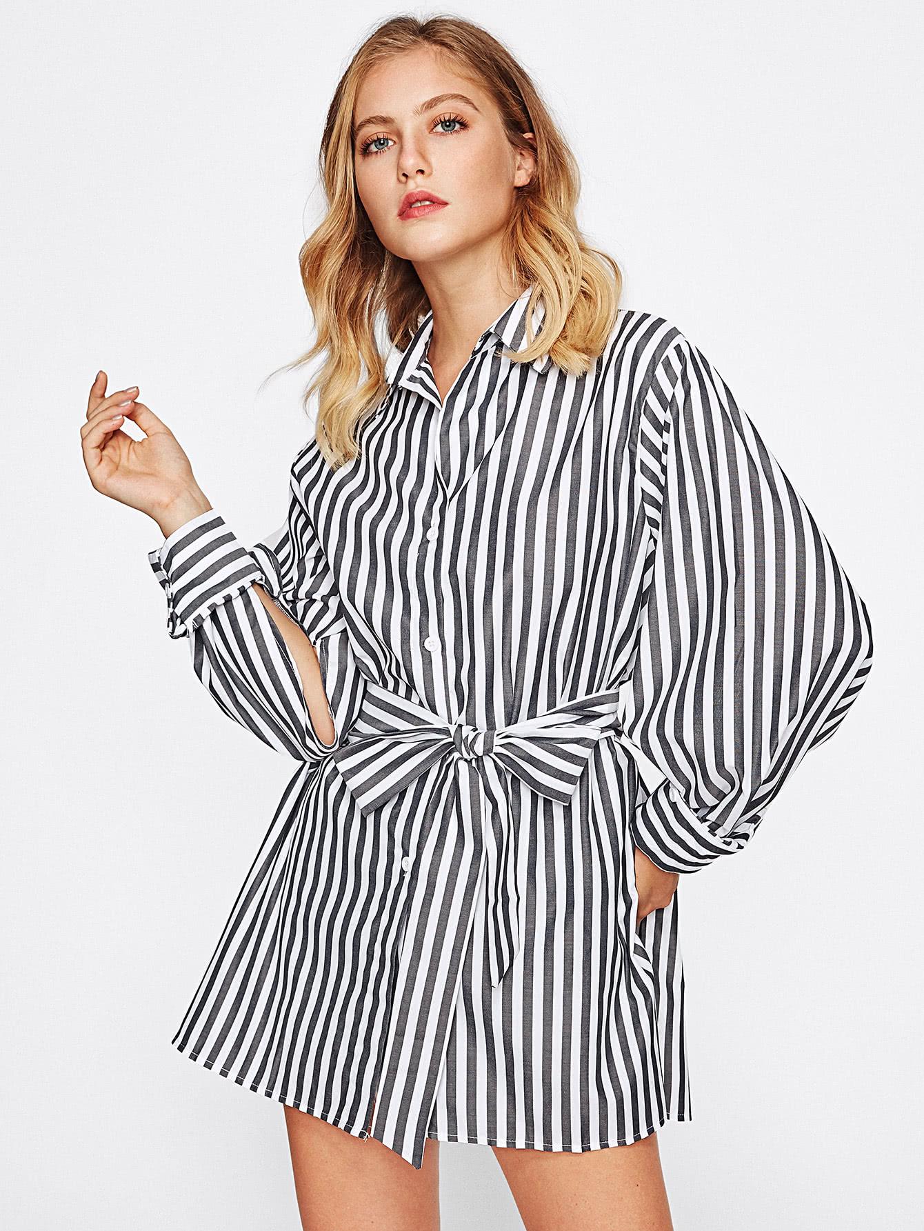 Contrast Striped Slit Side Dip Hem Shirt blouse170808304