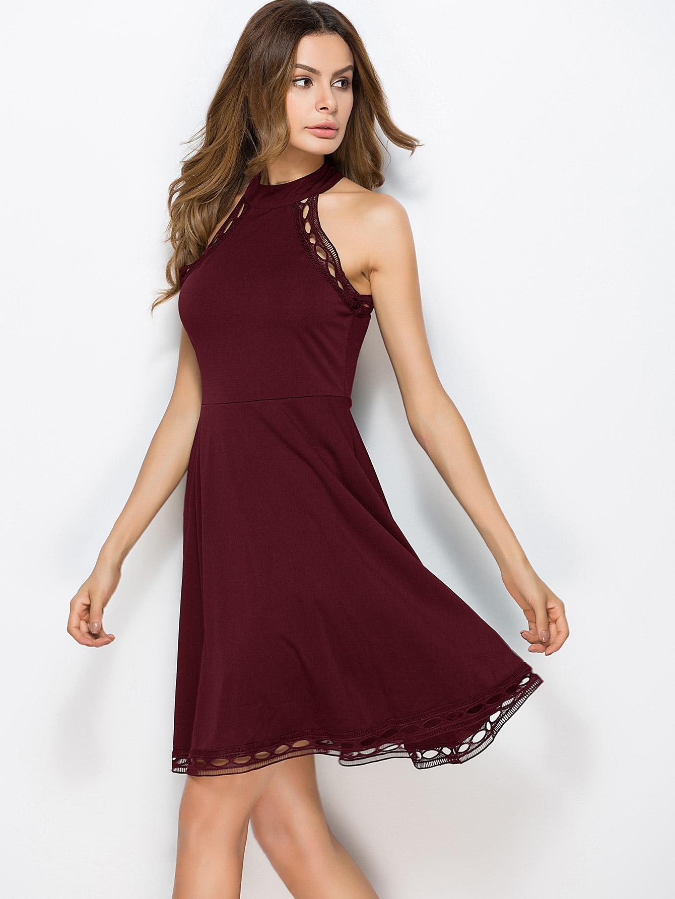 Hollow Out Crochet Trim Swing Dress crochet openwork swing dress