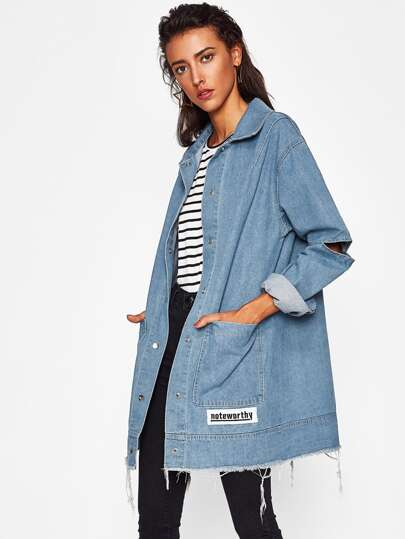 Cut Out Sleeve Frayed Patch Denim Jacket
