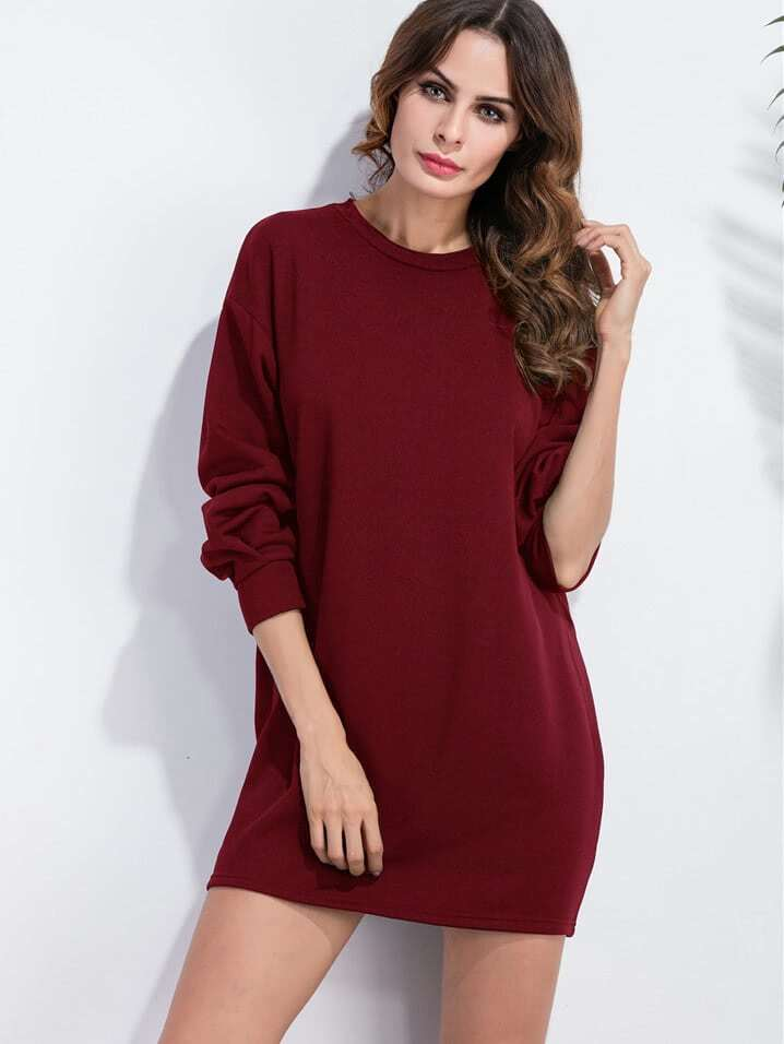 Drop Shoulder Sweatshirt Dress drop shoulder frill hem batwing sweatshirt