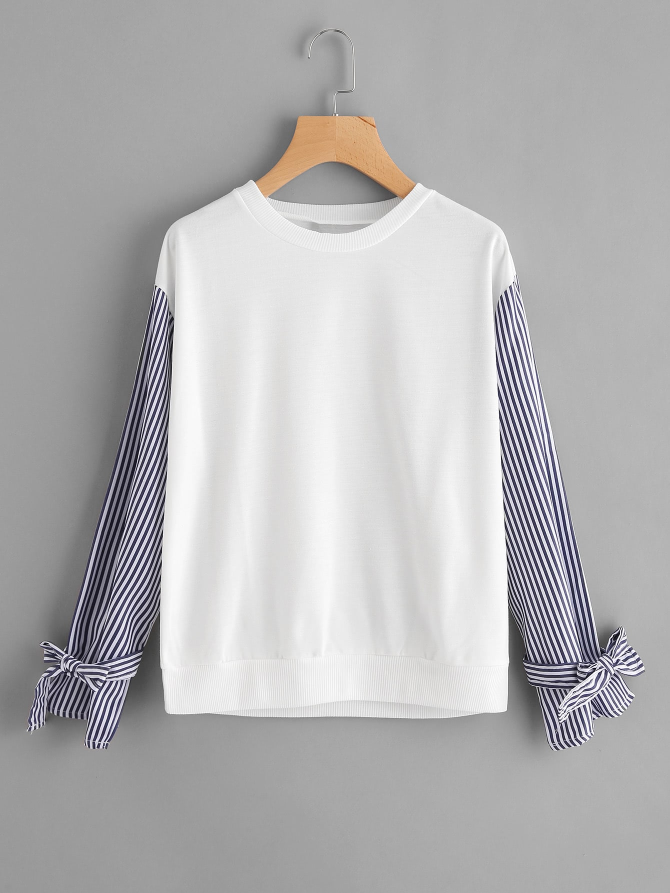 Contrast Striped Bow Tie Sleeve Tee bow tie bell cuff striped tee