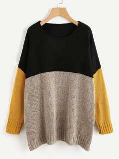 Color Block Marled Knit Jumper