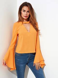 Choker Neck Tie Back Trumpet Sleeve Blouse
